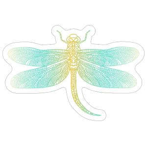 Pretty Light Blue and Yellow Dragonfly Sticker