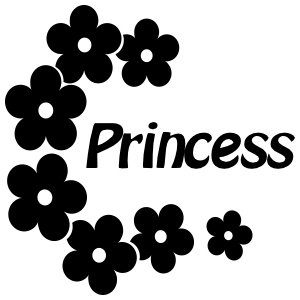 Princess With Daisy Flowers Vinyl Lettering Sticker