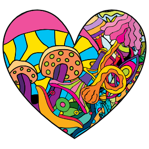 Psychedelic Heart Shaped Hippie Sticker