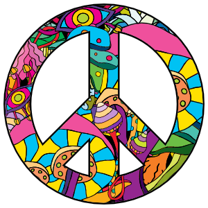 Psychedelic Peace Sign Hippie Sticker