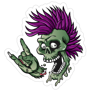 Punk Rock Cartoon Skull Sticker