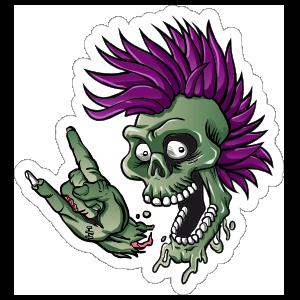 Punk Rock Cartoon Skull Sticker