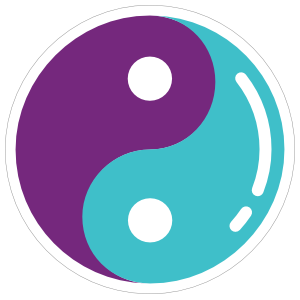 Purple and Blue Yin Yang Hippie Sticker
