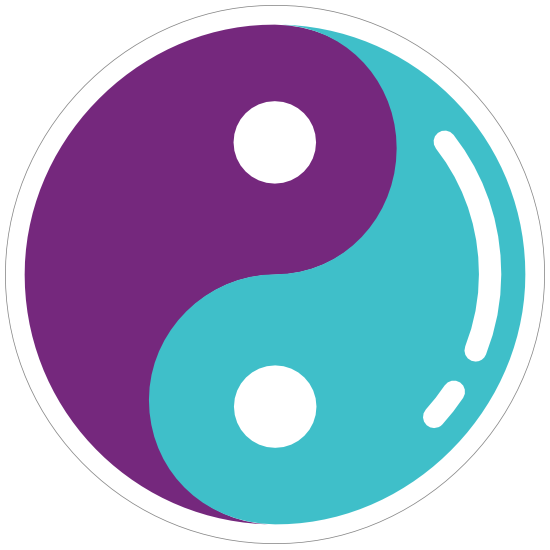 Purple and Blue Yin Yang Hippie Sticker