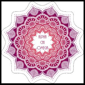Purple and Red Alpha Chi Omega Mandala Sticker