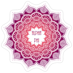 Purple and Red Alpha Phi Mandala Sticker