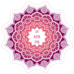 Purple and Red Pi Beta Phi Mandala Sticker