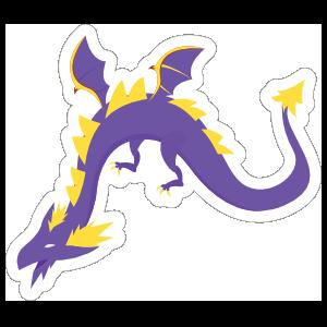 Purple and Yellow Wyvern Dragon Sticker