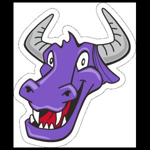 Purple Cartoon Dragon Mascot Sticker