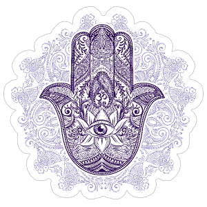 Purple Hamsa and Mandala Boho Sticker