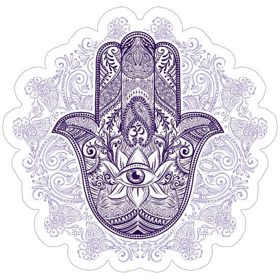 Purple Hamsa and Mandala Boho Sticker