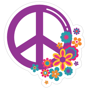Purple Peace Sign and Flowers Hippie Sticker