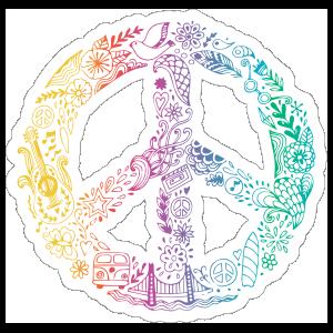 Rainbow Artwork Peace Sign Hippie Sticker