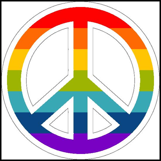 Rainbow Peace Sign Hippie Sticker