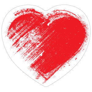 Red Brush Heart Sticker