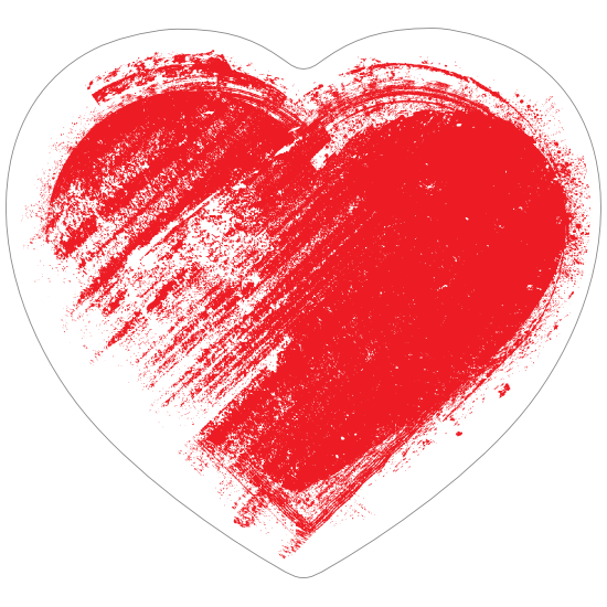 Red Brush Heart Sticker