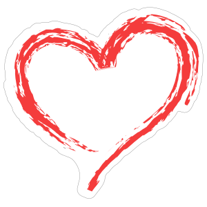 Red Brush Stroke Heart Sticker
