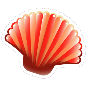 Red Scallop Seashell Sticker