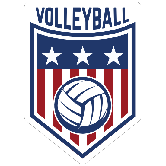 Red White and Blue Volleyball Badge Sticker
