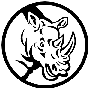Rhinoceros Head In Circle Sticker