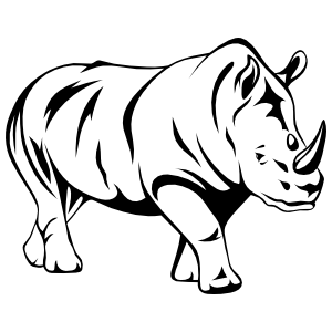 Brawny Detailed Rhinoceros Sticker