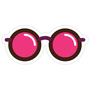 Rose Tinted Glasses Hippie Sticker