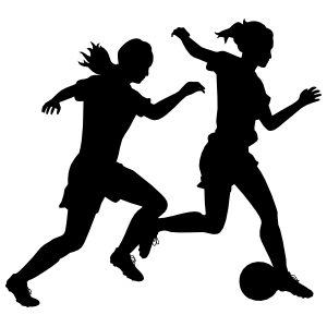 Running Female Soccer Players Stickers
