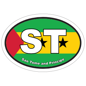 Sao Tome and Principe ST Flag Oval Sticker