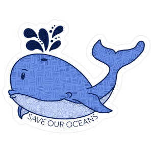Save Our Oceans Whale Sticker