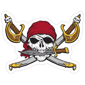 Scary Buccaneers Mascot Sticker