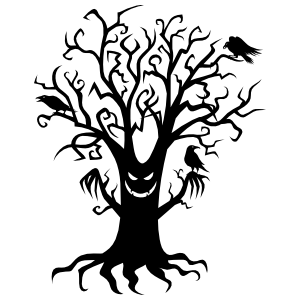 Scary Oak Tree Sticker