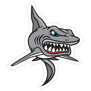 Scary Shark Mascot Sticker