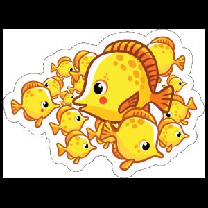 School of Yellow Fish Sticker
