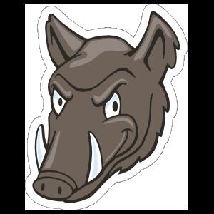 Serious Boar Head Mascot Sticker