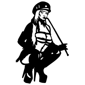 Lady With Hat And Whip Sticker