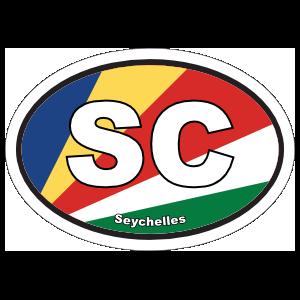 Seychelles SC Flag Oval Sticker