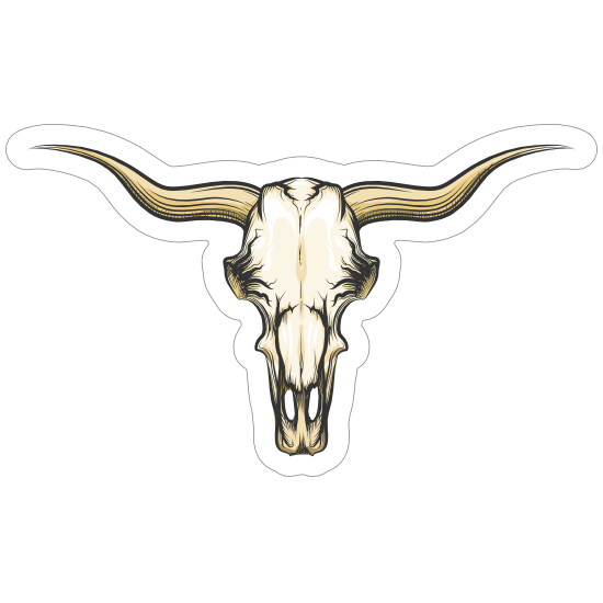 Shaded Bull Cow Skull With Horns Sticker