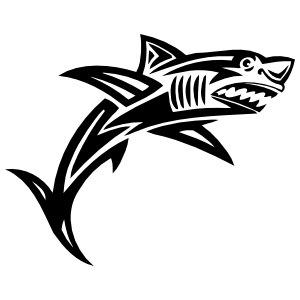 Angry Tribal Shark Sticker