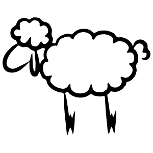 Cute Sheep Lamb Outline Sticker