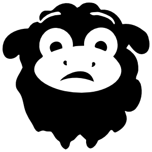 Worried Sheep Lamb Face Sticker