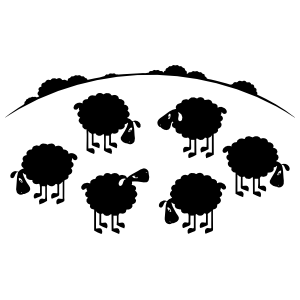 Sheep Lambs In A Field Sticker