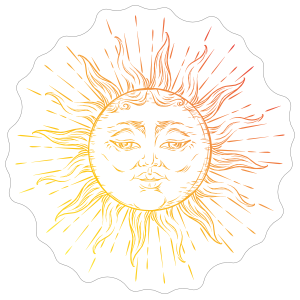 Celestial Shining Sun Sticker