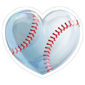 Shiny Heart Baseball Sticker