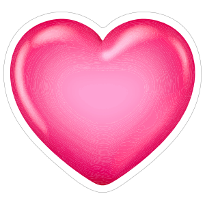 Shiny Pink 3D Heart Sticker