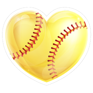 Shiny Yellow Heart Softball Sticker