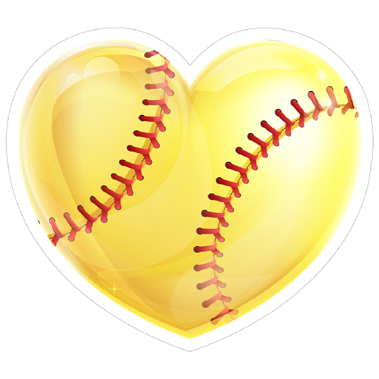 Shiny Yellow Heart Softball Sticker