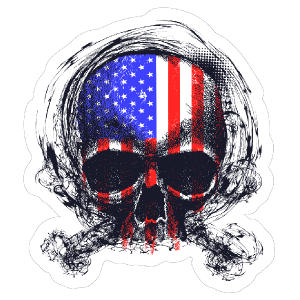 Sketched American Flag Skull Sticker