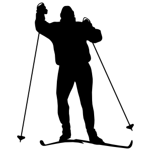 Skier Walking Sticker