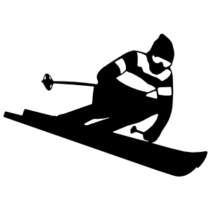 Skier Skiing Down Hill Sticker