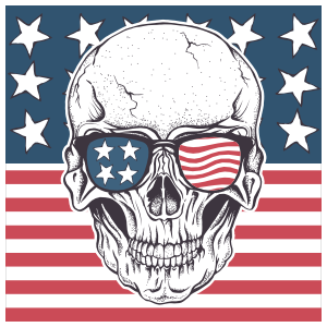 Skull With American Flag And Sunglasses Sticker